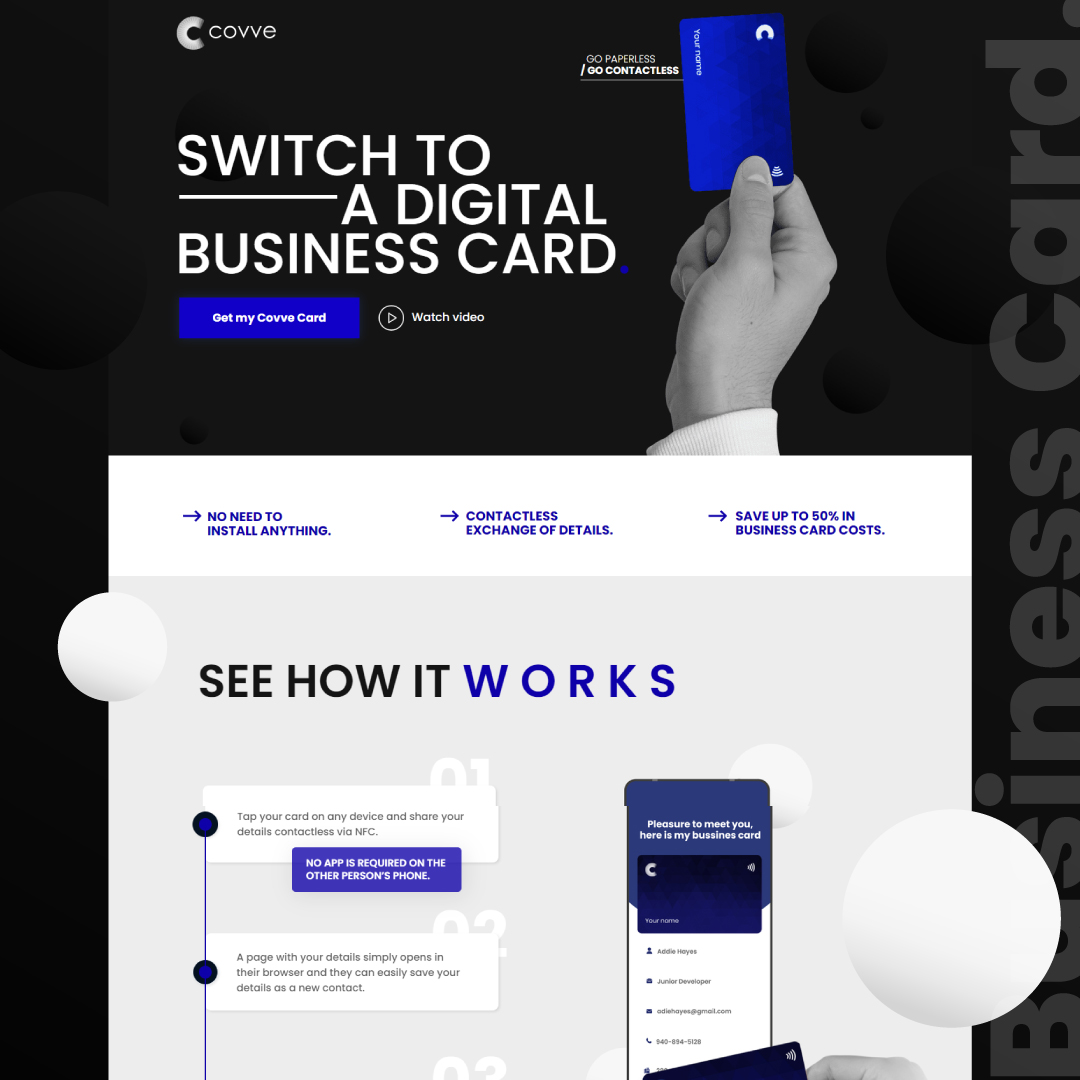 Landing Page for Covve Card